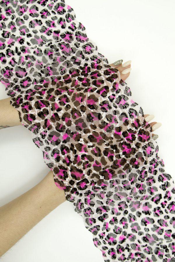Эластичное кружево леопард с розовым неоновым