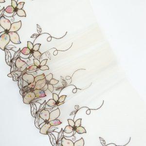 Вышивка на сетке бельевая бежевая с мультиколором