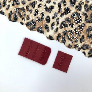 Застёжка текстильная бордовая 2х3