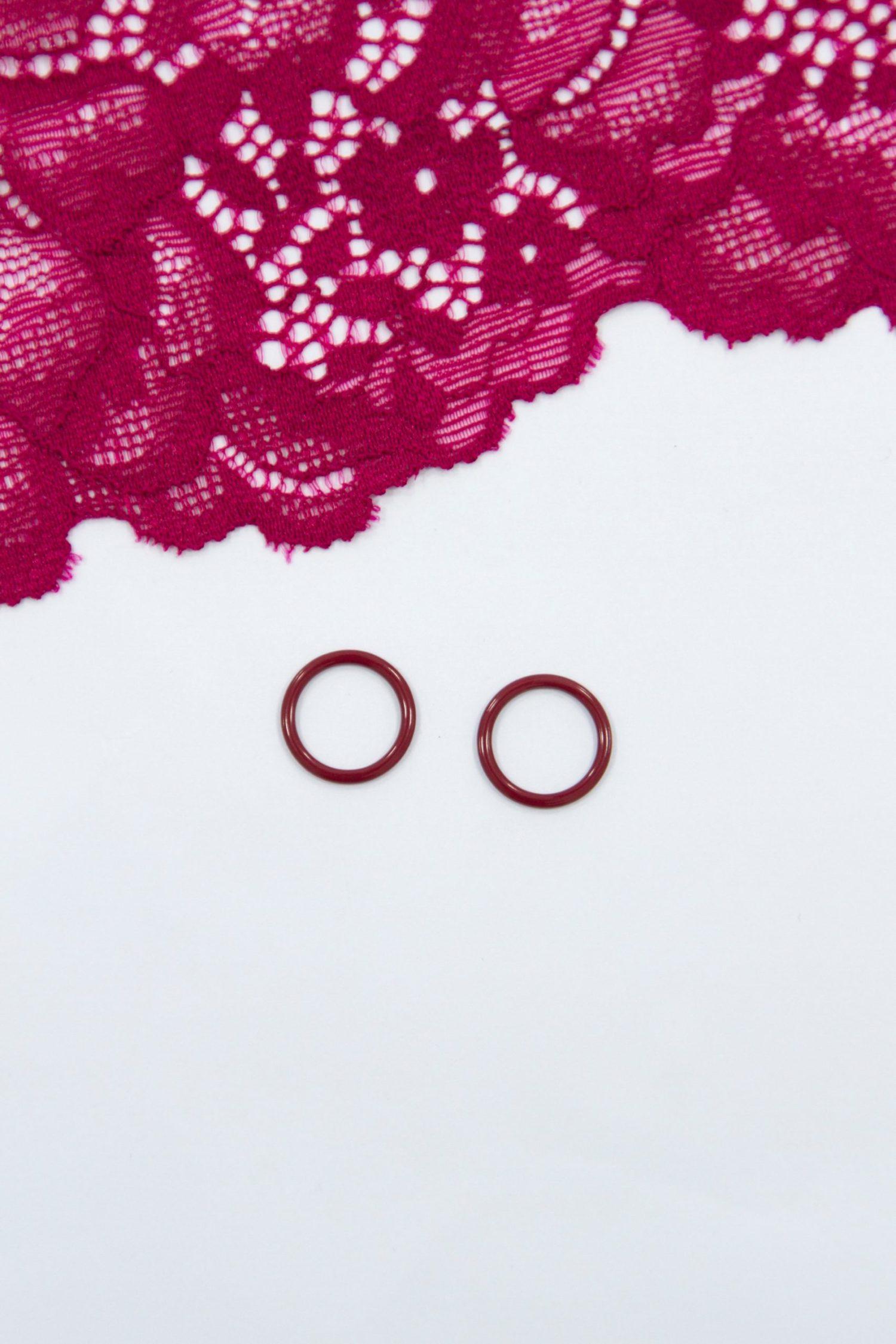 Кольцо металлическое бельевая фурнитура ∅1 см бордовое
