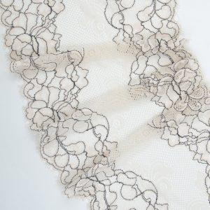 Кружево шантильи с эластаном персико-бежевое с серым