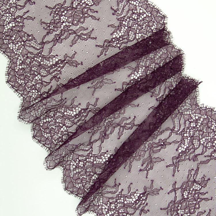 Кружево шантильи без эластана цвета бургунди