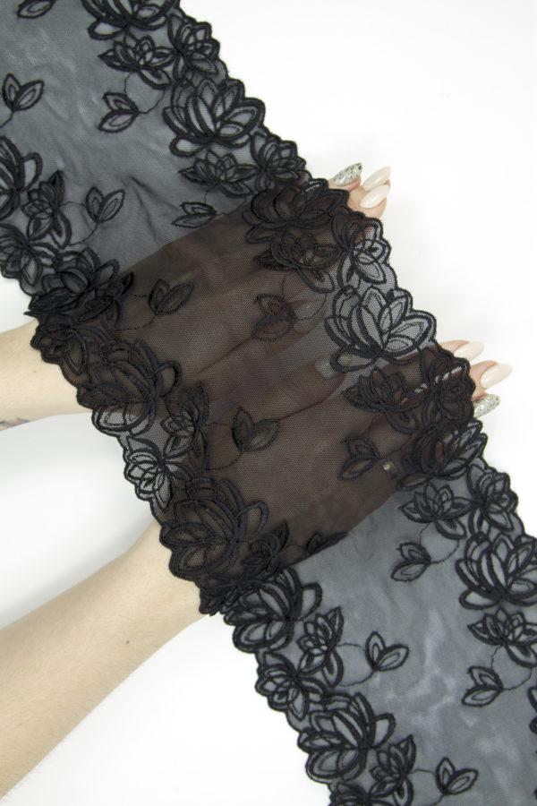 Эластичное кружево чёрное