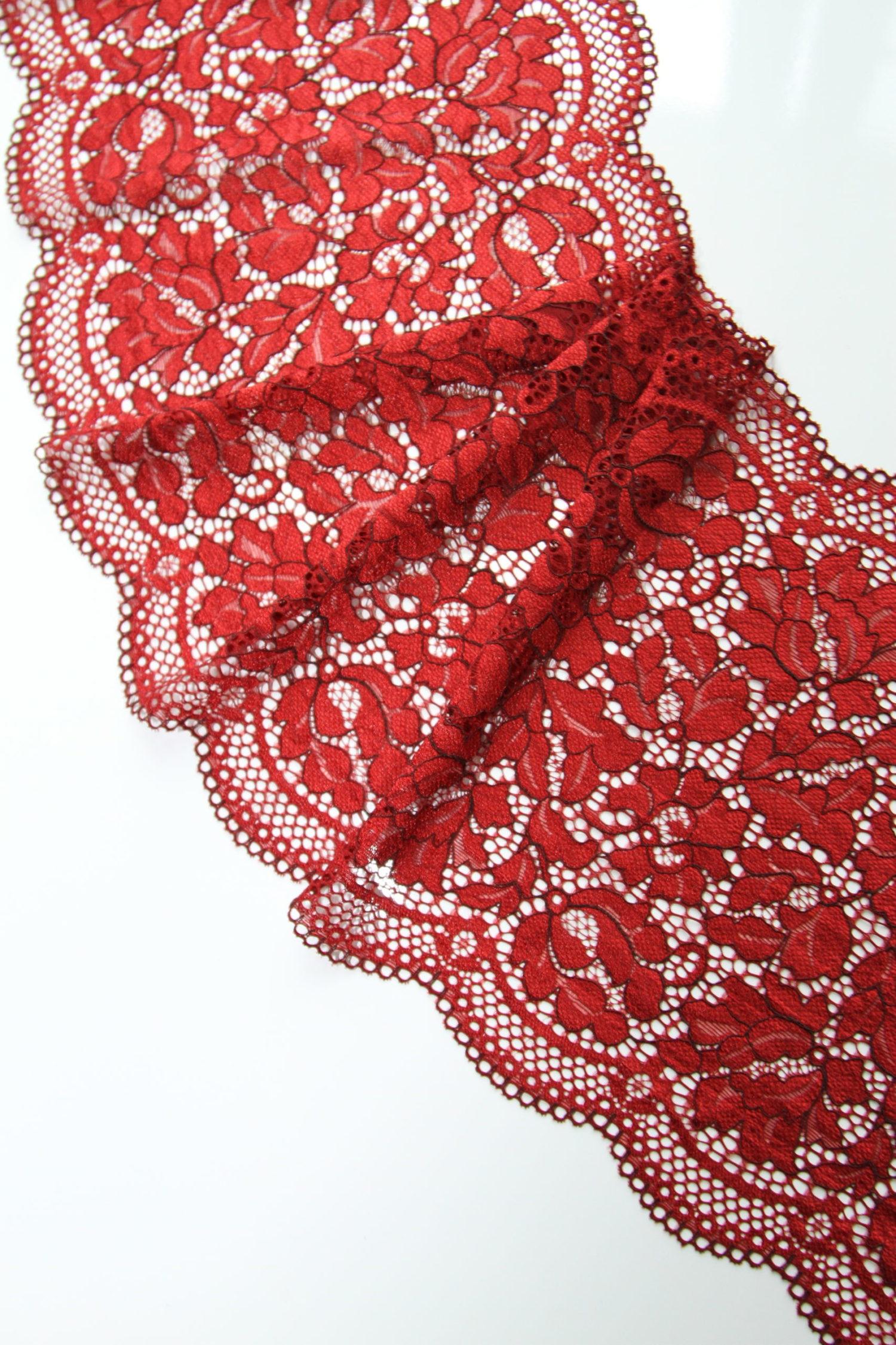 Эластичное кружево помпейское красное