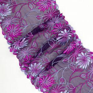 Вышивка на сетке бельевая баклажановая с мультиколором