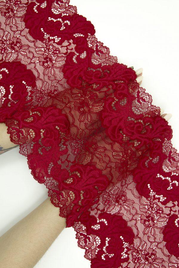 Эластичное кружево тёмно-красное