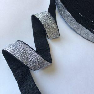 Резинка каркасная мягкая 25 мм серебро