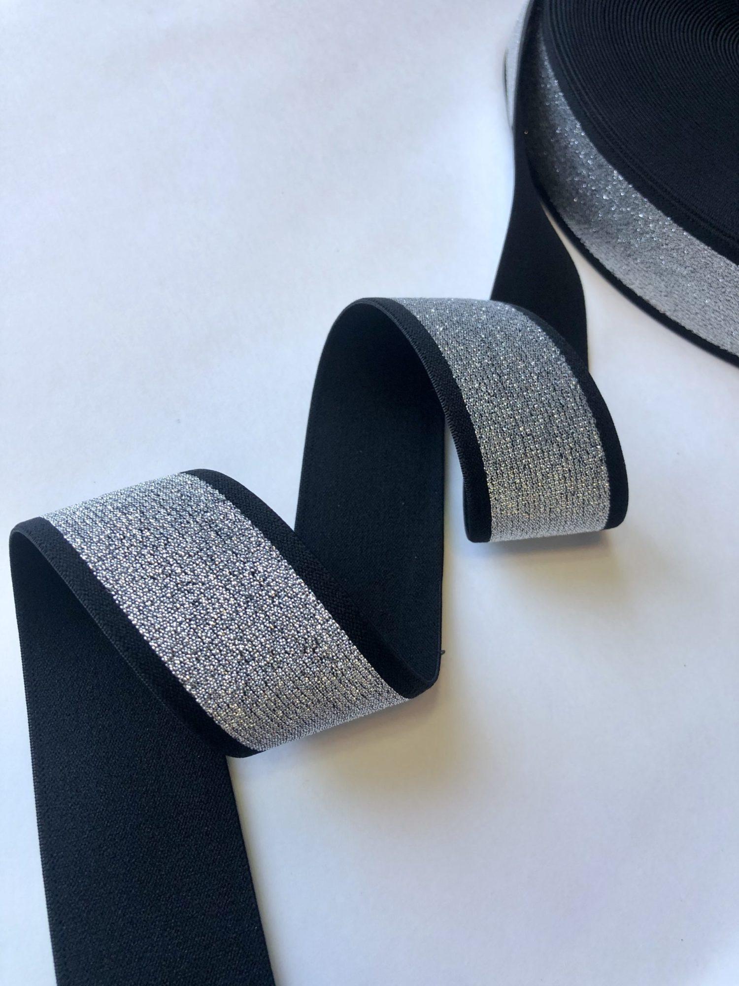 Резинка каркасная мягкая 40 мм серебро