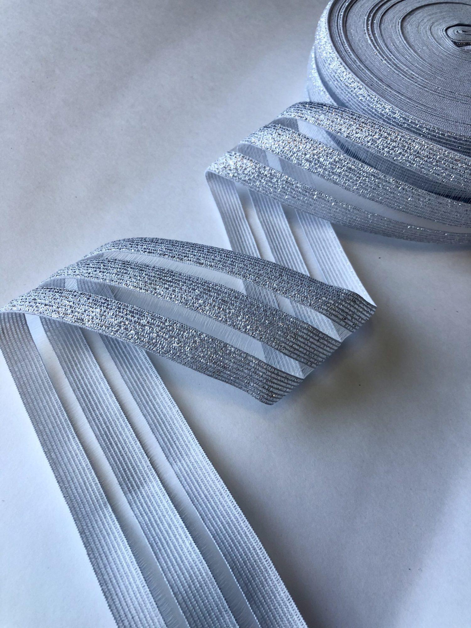 Резинка каркасная с прозрачными вставками 50 мм серебро