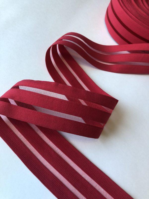 Резинка каркасная с прозрачными вставками 50 мм красная