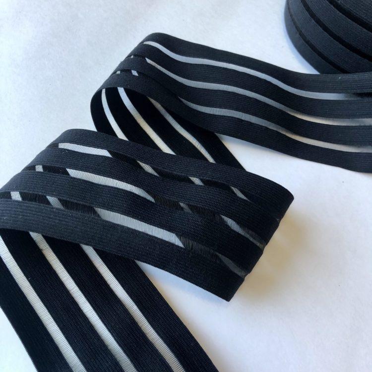 Резинка каркасная с прозрачными вставками 70 мм чёрная