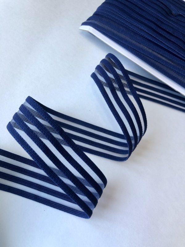Резинка каркасная с прозрачными вставками 30 мм тёмно-синяя