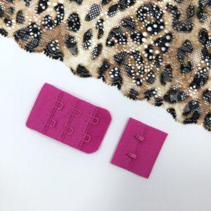 Застёжка текстильная ярко-розовая 2х3