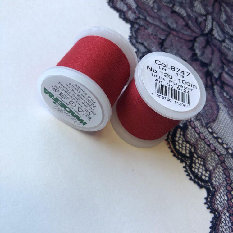 Нитки швейные Madeira aerofil №120 тёмно-красные Col. 8747
