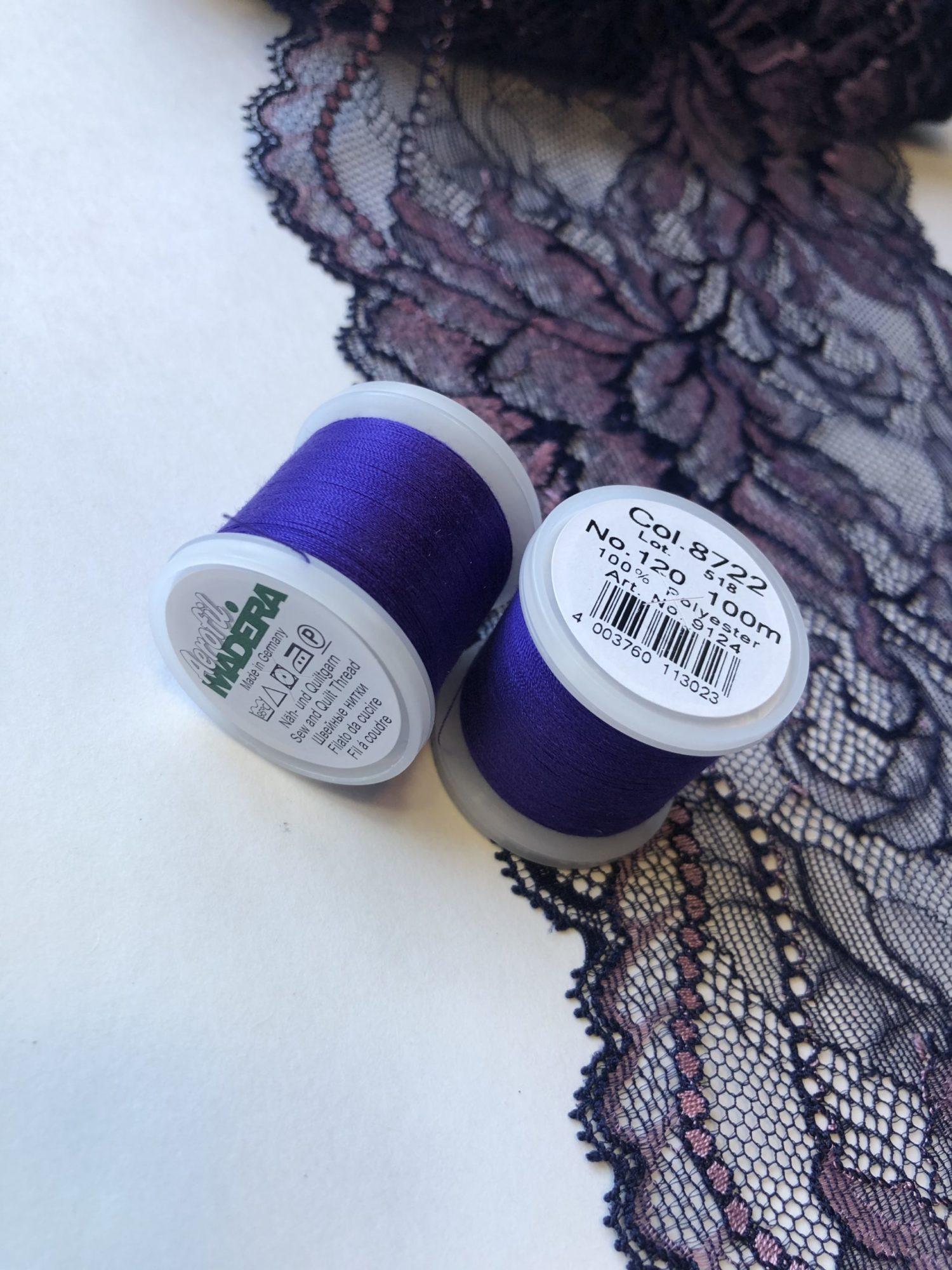 Нитки швейные Madeira aerofil №120 фиолетово-синие Col. 8722
