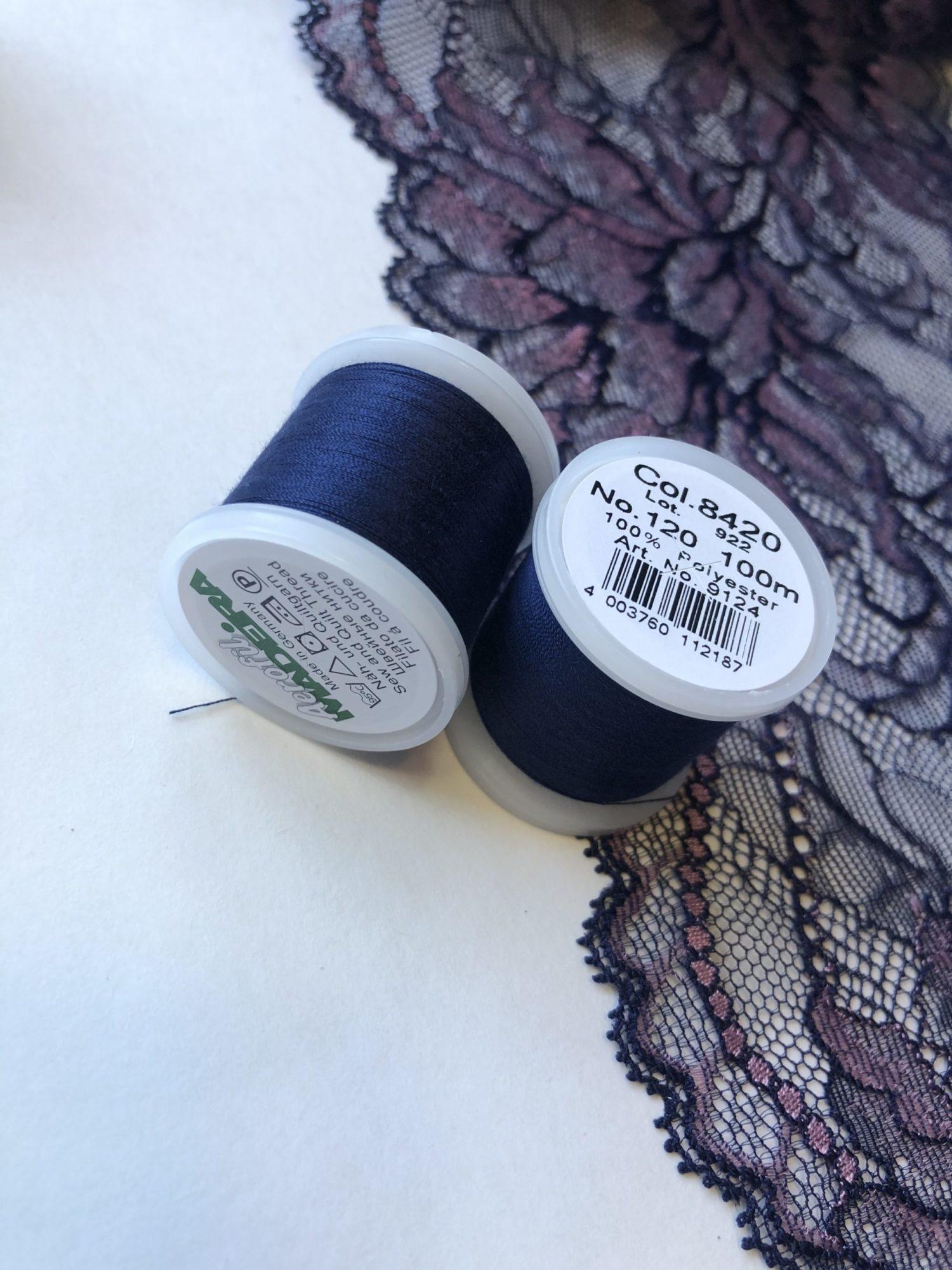 Нитки швейные Madeira aerofil №120 синие Col. 8420