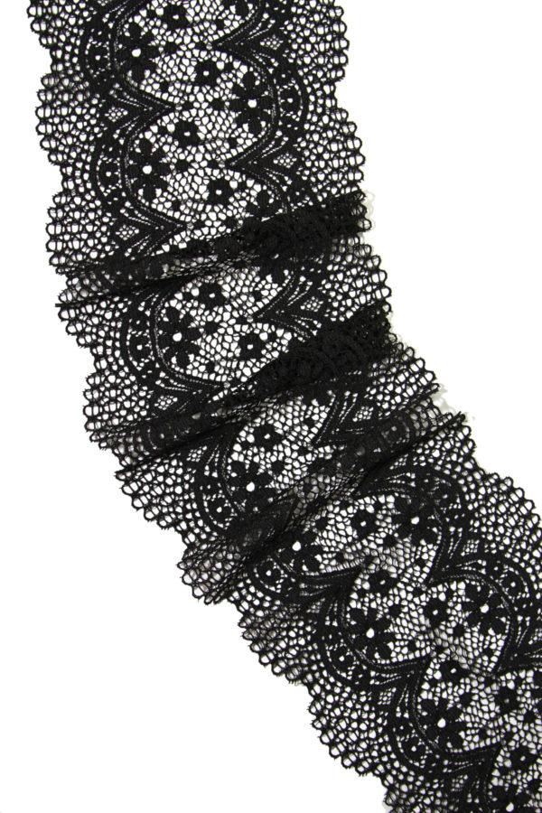 Эластичное кружево чёрное плотное