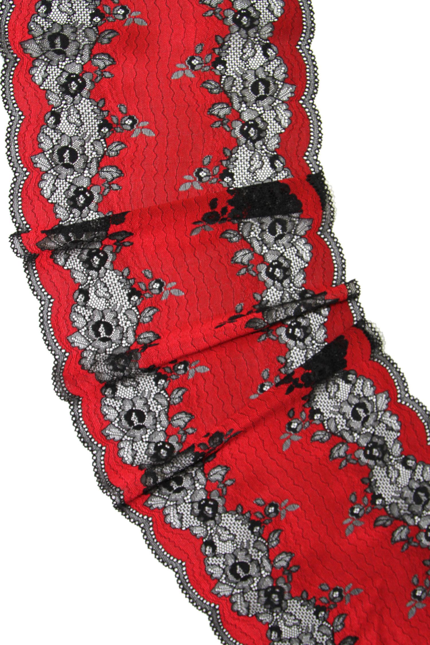 Эластичное кружево красное с чёрным