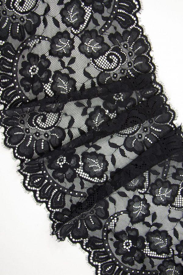 Кружево шантильи с эластаном чёрное