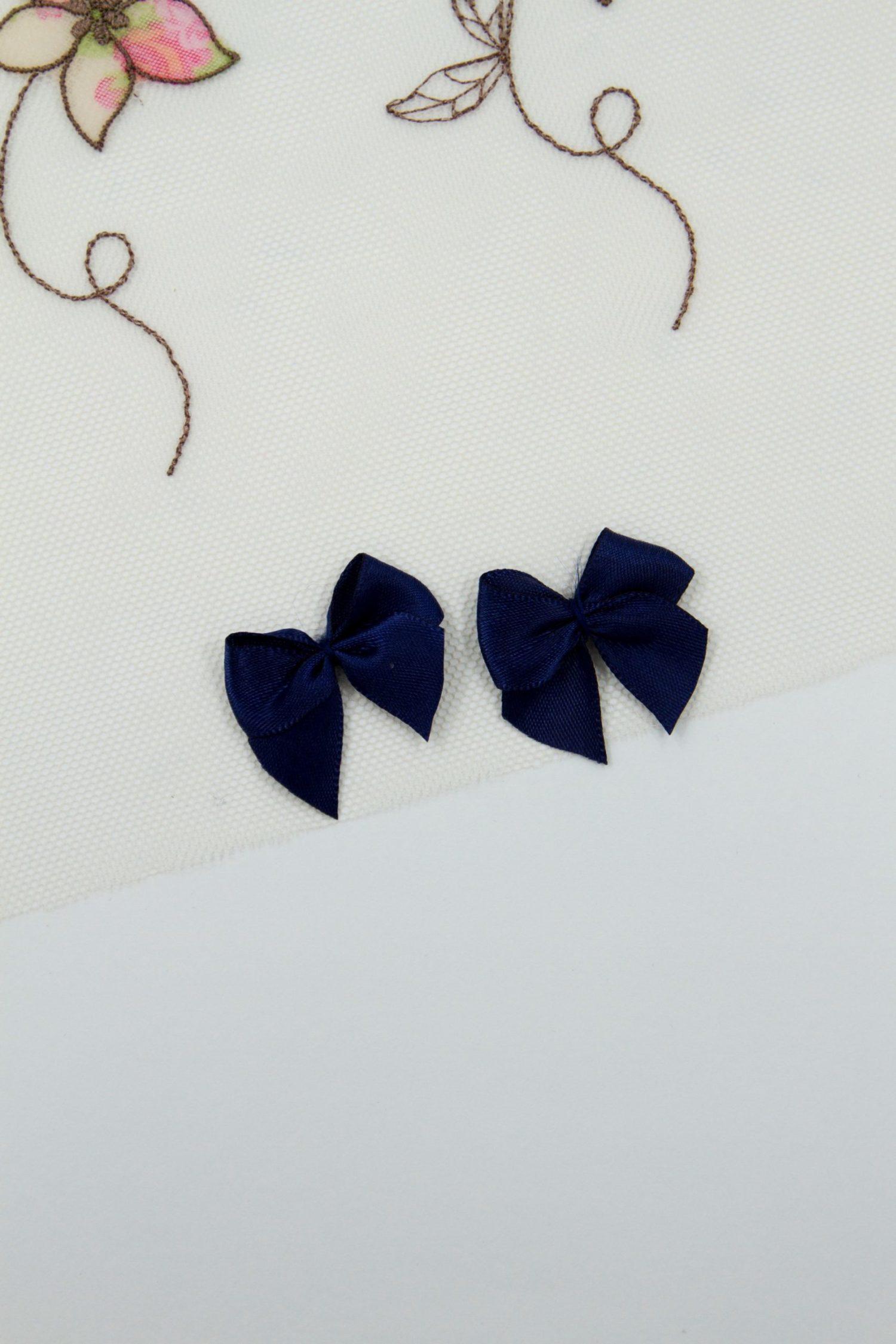 Бантик пришивной 1.5 см тёмно-синий