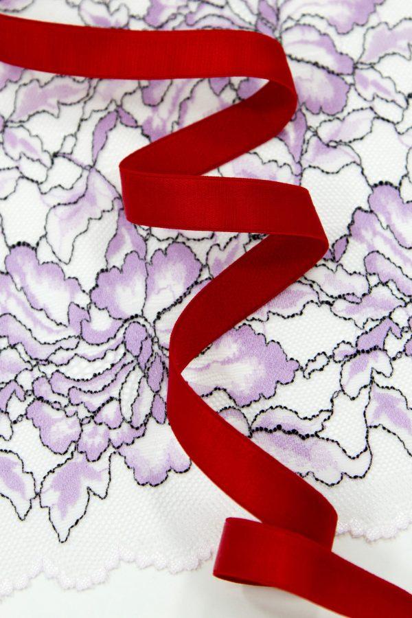 Резинка бретелечная 15 мм глянцевая красная
