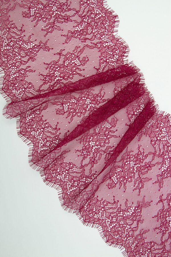 Кружево шантильи без эластана цвет брусника