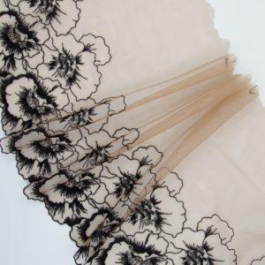 Вышивка на сетке бельевая кофейно-бежевая с чёрным
