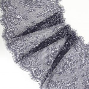 Кружево шантильи без эластана тёмно-синее с экрю