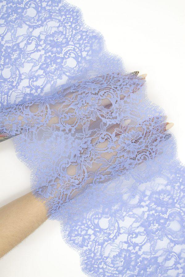 Кружево шантильи без эластана голубое