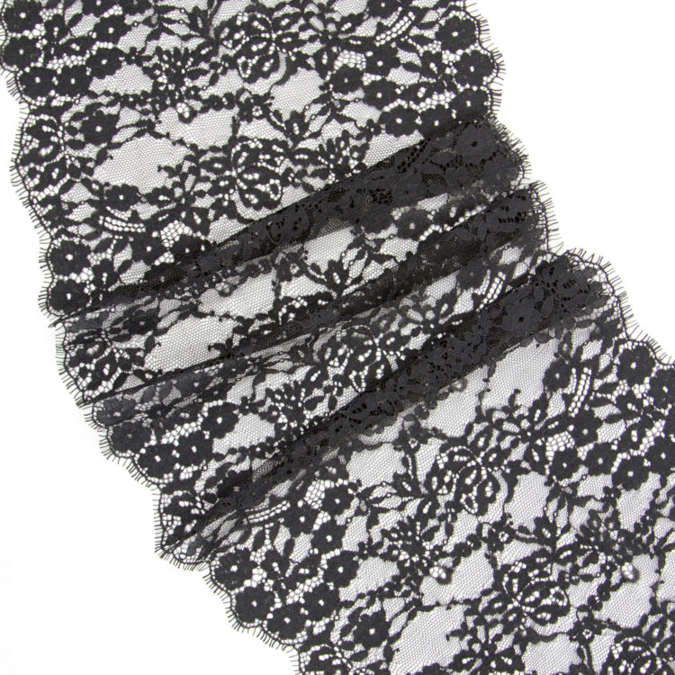 Кружево шантильи без эластана чёрное