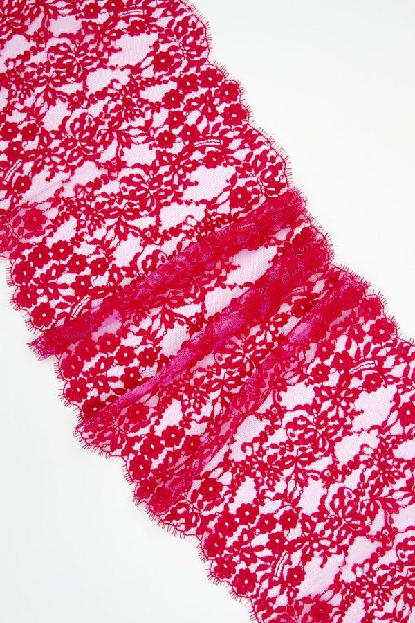 Кружево шантильи без эластана малиновое со светло-розовым