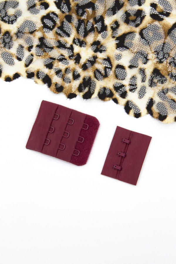 Застёжка текстильная бельевая цвета марсала 3х3