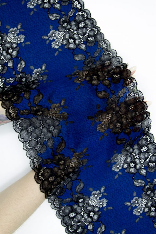 Эластичное кружево синее с чёрным
