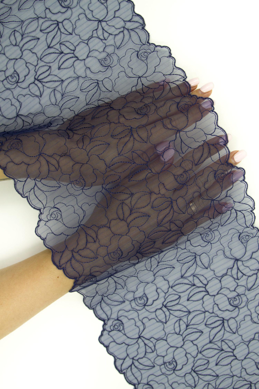 Вышивка на сетке бельевая тёмно-синяя