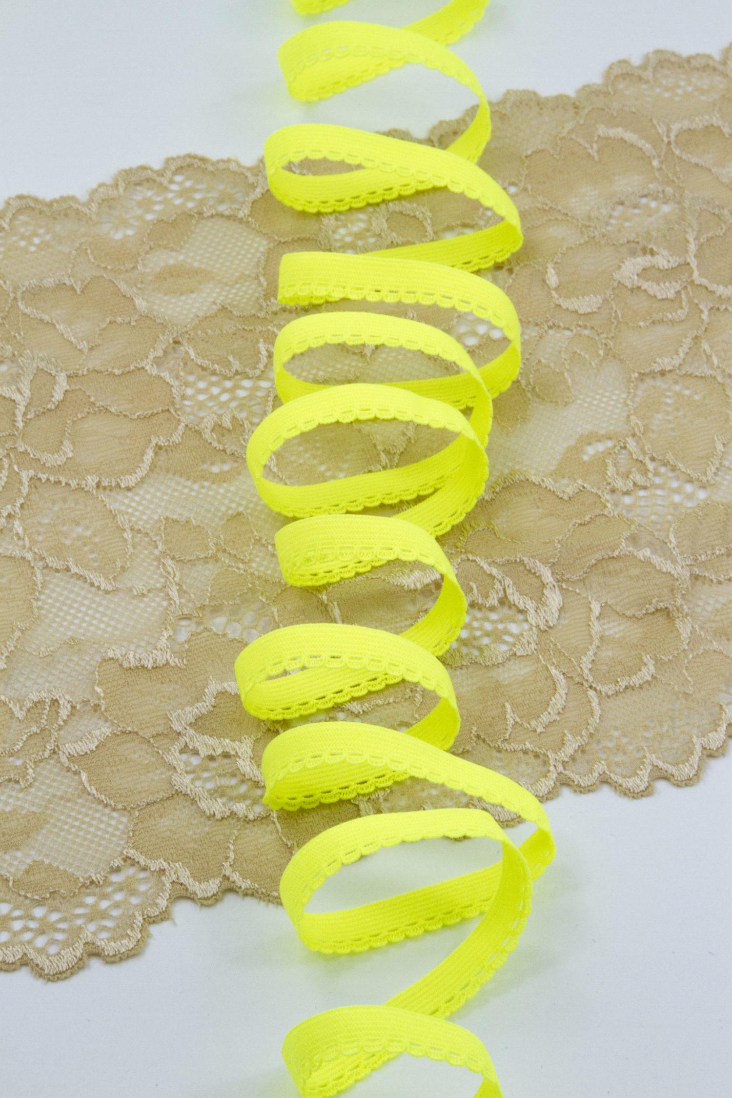 Резинка бельевая ажурная 9 мм лимон-лайм неоновая