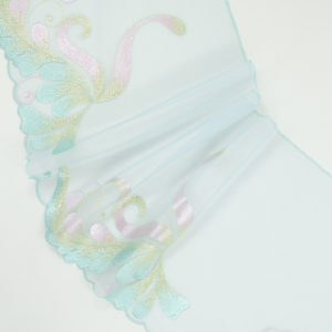 Вышивка на сетке бельевая бирюзовая с мультиколор