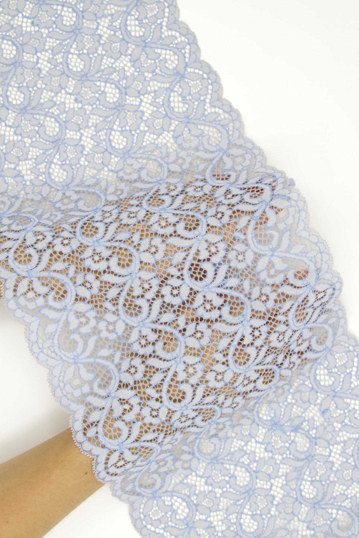 Эластичное кружево светло-серое с голубым