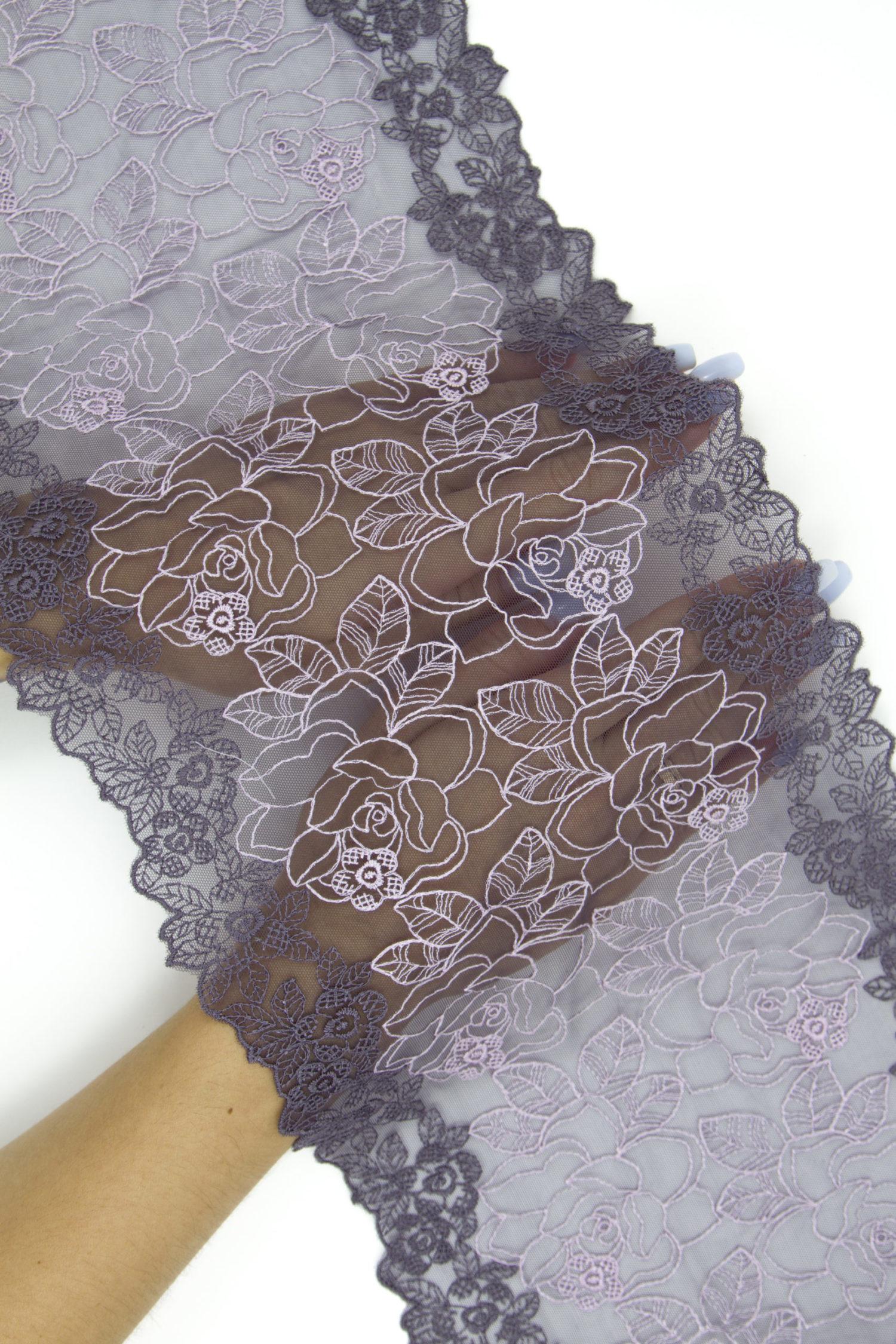 Вышивка на сетке фиолетовое с лиловым