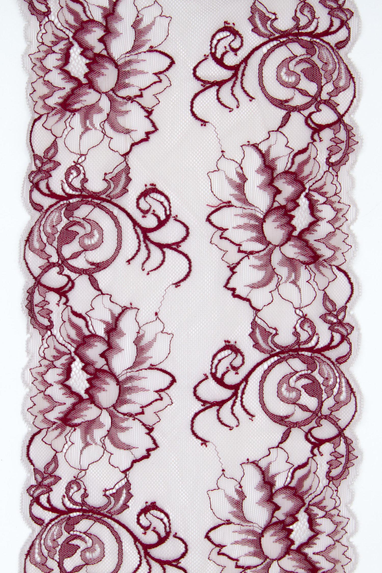 Эластичное кружево светло-розовое с бордовым