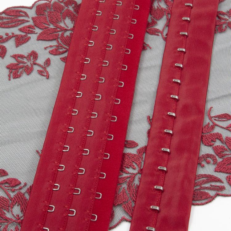 Застёжка на ленте 3 ряда красная