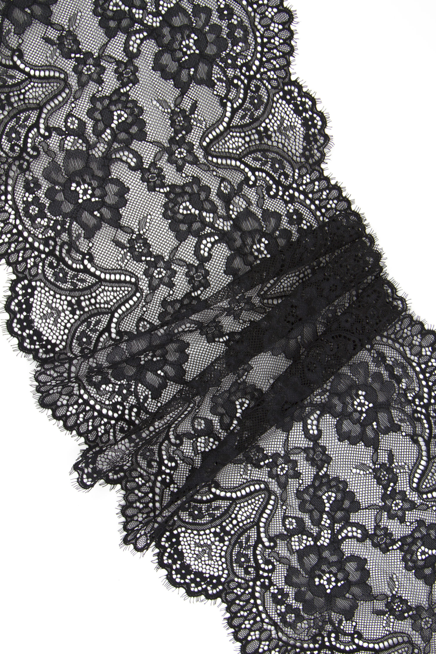 Кружево шантильи чёрное